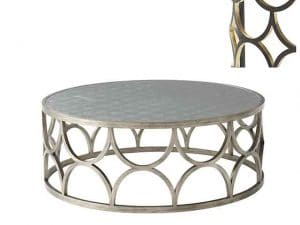 Coffee Tables - Cocktail Table, Ebonised Finish With Hand Gilt Accents, Circular Hand Leafed Silver Eglomisé Top, Trellis Sides. Made by Theodore Alexander.