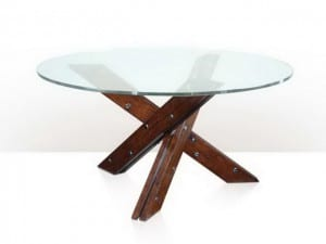 Dining Tables - A Contemporary Antiqued Wood Glass Top Dining Table The Circular Top Above Three Angled Legs With Stainless Steel Fittings.