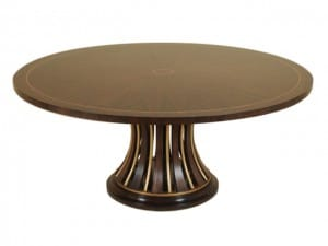 Dining Tables - Lacienega Finished Dining Table, Rosewood Veneer, Gilded Iron Base With Wood Inserts.