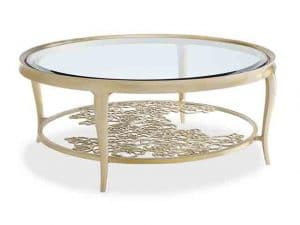 Coffee Tables - This Cocktail Table Is Distinguished By Its Cut Metal Grille That Comes To Life In Floral Splendour. Handpicked Is Luminous With Its Bevelled Glass, Wide Concave Apron, And Graceful Cabriole Legs, Bathed In Oracle Silver Leaf. This Piece's Updated Style Exhibits A Metal Stretcher Of Cut-Out Flowers Arranged In A Geometric Pattern For Glorious Effect. Features: Metal Frame Finished In Oracle. Top Is 10mm Tempered Clear Glass With 40mm Bevel. Shelf Is 6mm Pierced Metal. Made by Caracole.