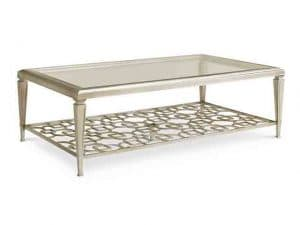 Coffee Tables - Make Friends With A Cocktail Table That Will Successfully Insert Itself Into Almost Any Upholstery Situation Or Decor. A Matte Metallic, Taupe Silver Leaf Finish Interacts Nicely With Light And Dark Wood Finishes, Other Metals And Upholstered Fabric Combinations. A Glass Top Shows Off The Table's Distinctive Interconnecting Patterned Top And Lower Stretcher. Features: Glass Top, Wood Frame In Taupe Silver Leaf, Shelf At Bottom With Trellis Pattern. Made by Caracole.