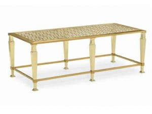 Coffee Tables - This Rectangular Cocktail Table Showcases A Star-And-Diamond Metal Fretwork Pattern To Bring A Richness To A Piece That Should Be Front And Centre In Your Living Room. The Top Frame And Thin Stretchers Are Finished In Brushed Majestic Gold, While The Frets And Square Tapered Legs Are Dipped In High-Polished Majestic Gold. The Piece Is Topped In Ultra-Clear Glass So As To Be Perfect When Situated Between Two Sofas. Features: Glass Top, Fret Work Under Glass, Top Frame And Stretchers In Majestic Gold, Legs And Fret In Majestic Gold. Made by Caracole.