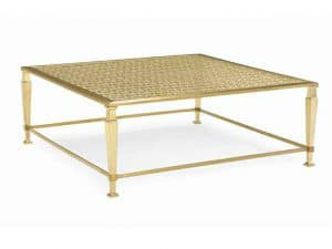 Coffee Tables - If You Are Looking For A Generous Square Cocktail Table That Blends Seamlessly With Other Pieces, The Arabesque Cocktail Beautifully Displays A Star-And-Diamond Metal Fretwork Pattern To Add A Special Touch To Any Seating Area. The Top Frame And Thin Stretchers Are Finished In Brushed Majestic Gold, While The Frets And Square Tapered Legs Are Dipped In High-Polished Majestic Gold. The Piece Is Topped In Ultra-Clear Glass That Is Perfect For Elegant Entertaining. Features: Glass Top, Fret Work Under Glass Top, Top Frame And Stretchers In Brushed Majestic Gold, Legs And Fret In Majestic Gold. Made by Caracole.