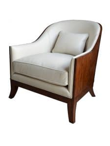 Club Chairs - An Argentinean Walnut Club Chair, The Padded Scoop Back And Upholstered Cushion Seat And Throw Cushion, On Splayed And Tapering Legs. The Original Art Deco. Upholstered in Grade 5 White Leather. Made by Theodore Alexander.