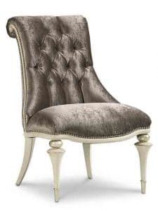 Accents Chairs - Stunningly Dressed In An Elegant Purple-Grey Velvet And Finished In Carleton White This Chair, Aside From The Obvious Dining Room Placement, Can Be Used In A Bedroom As A Dressing Table Seat Or In A Living Area As An Accent Chair. With Nailhead Trim And A Tufted Back With Scroll Accent, This Chair Is A Must Have. Features: Springdown Cushion, Tight Seat. Made by Caracole.