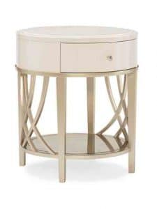 Side Tables - This Round End Table In Washed Alabaster Maple Displays A Beautiful Stone Top. The Drawer Is Lined In A Shimmering Blush Taupe Stencil. Positioned On Contemporary Tapered Legs That Are Joined On The Sides By A Woven Carved Motif, A Piece Of Glass, Finished Underneath In Shimmering Blush Taupe, Provides An Elegant Base. Features: Inset Stone Top. Base And Legs In Blush Taupe. Glass Shelf Painted In Blush Taupe On Back. One Soft Close Drawer With Blush Taupe Silkscreen Design On Drawer Bottom. Made by Caracole.