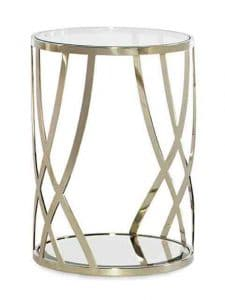 Side Tables - Finish Off Any Sofa By Pairing It With The Adela Round Table. Only 16-Inches In Diameter, This Accent Table Has A Contemporary Woven Whisper Of Gold Metal Frame That Is Topped In Glass And Features A Bevelled Mirror Shelf At The Bottom. This Petite Piece Is The Perfect Gem To Add To Any Sitting Area. Features: Metal Frame Plated In Whisper Of Gold. Tempered Glass Top. Tempered Bevelled Mirror Bottom Shelf. Made by Caracole.