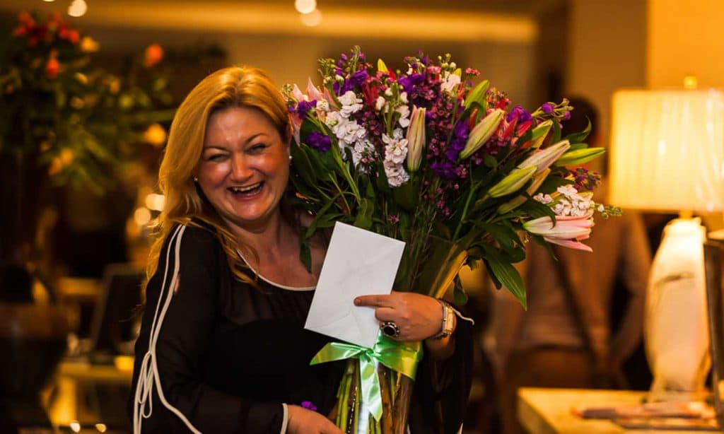 Indispensible Ipek receiving a magnificent bouquet - Our prestigious furniure showroom is located in the heart of Rivonia, Sandton in Johannesburg.