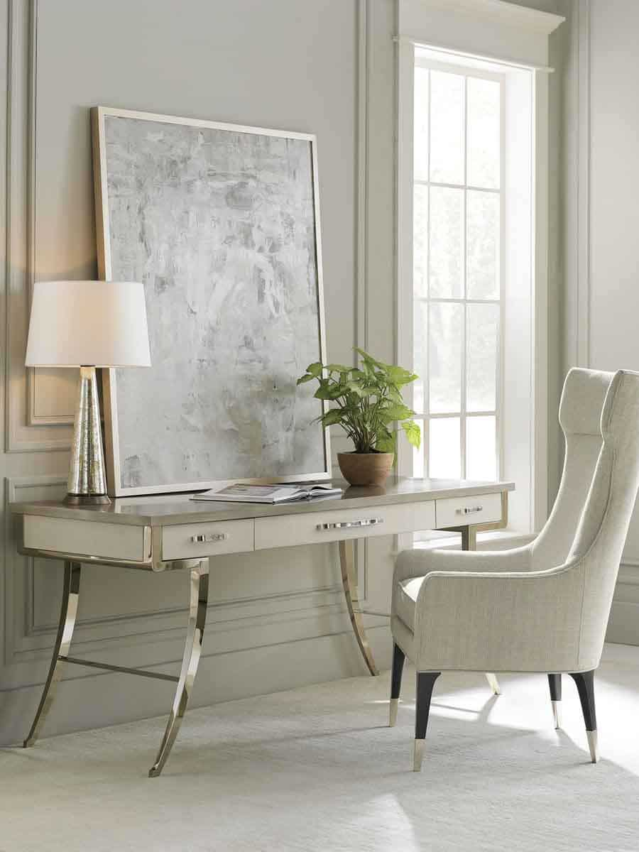 """Caracole Classic Collection - Contemporary Furniture Available at Place Direct - Items in picture: """"Work Force"""" Desk and """"Perfect Pairing"""" Wing Chair"""