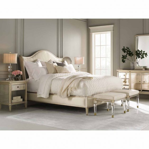 "Caracole Classic Collection Items in picture: ""Bedtime Beauty"" Bed, ""You're A Beauty"" Nightstand, ""La-Dee-Dah"" Dresser, ""Silver And Gold"" Stool and ""Beautiful"" Mirror"