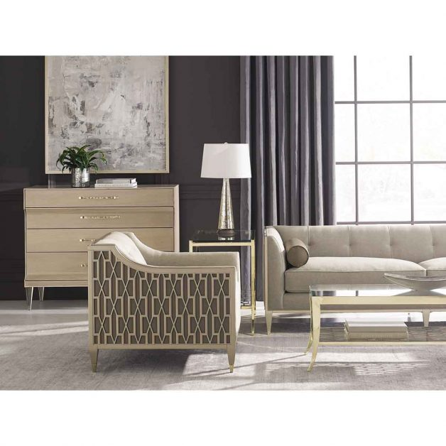 "Caracole Classic Collection - Contemporary Furniture Available at Place Direct - Items in picture: ""Soft Landing"" Sofa and ""Chair-Ish"" Club Chair, ""Pattern Repeat"" Coffee Tables, ""A Precise Pattern"" Side Table, and ""You're Dreamy"" Chest of Drawers"