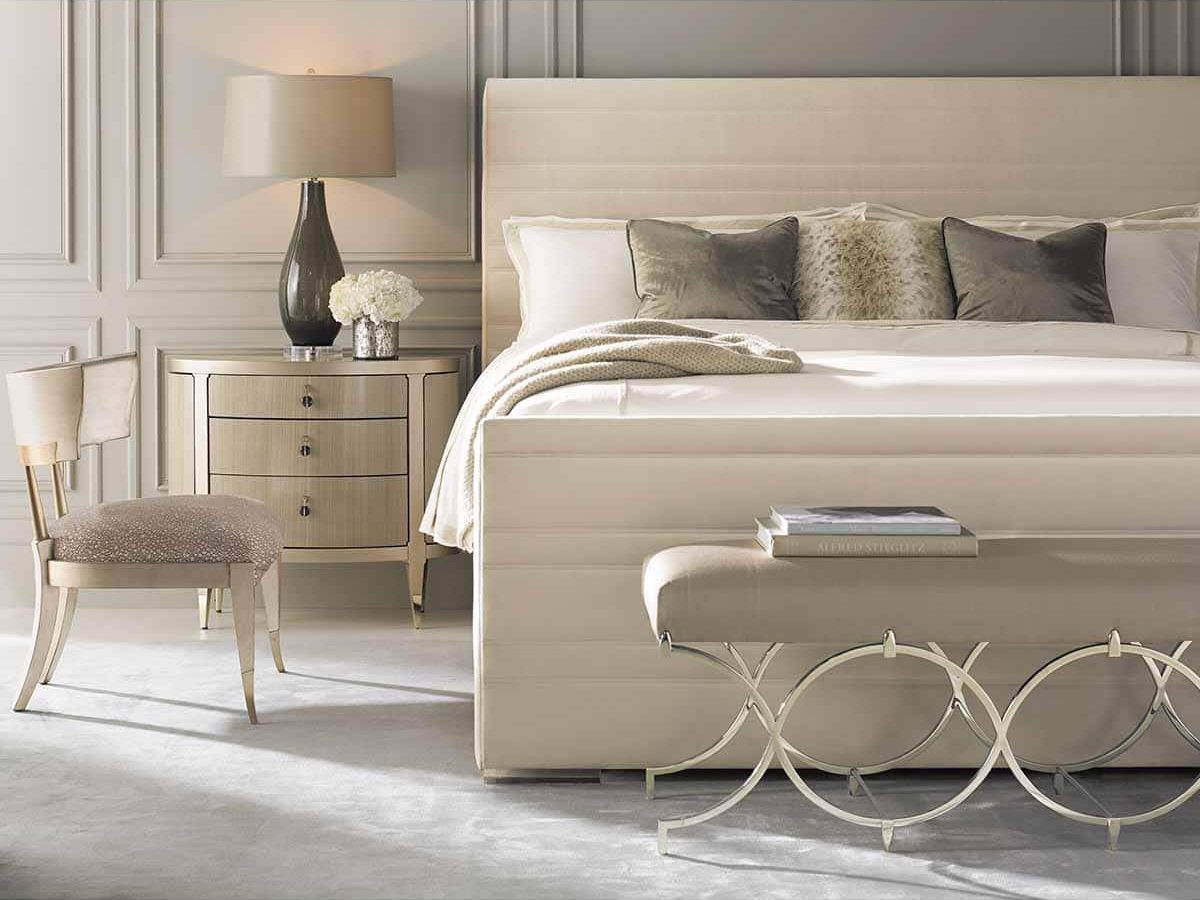 "Caracole Classic Collection - Contemporary Furniture Available at Place Direct - Items in picture: ""Dream On"" Bed, ""A Dream Come True"" Nightstand, ""Infinite Possibilities"" Bench and ""It's All Greek To Me"" Accent Chair"