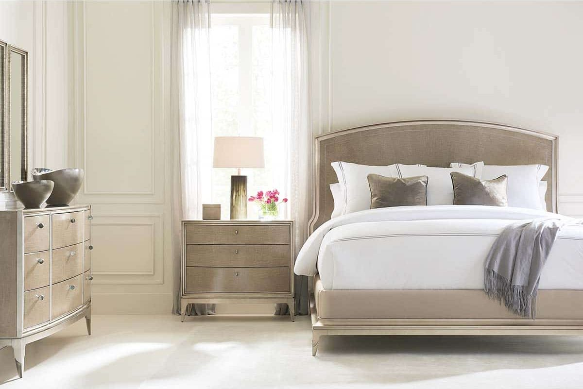 "Caracole Classic Collection - Contemporary Furniture Available at Place Direct - Items in picture: ""Rise To The Occasion"" Bed, ""Rise And Shine"" Bedside Chest of Drawers, ""Made To Shine"" Dresser and ""As I See It"" Mirror"