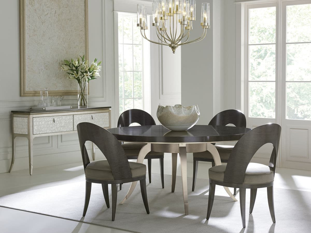 """Caracole Classic Collection - Contemporary Furniture Available at Place Direct - Items in picture: """"Table Dance"""" Dining Table, """"Got Your Back"""" Dining Chair and """"Shell It Like It Is"""" Console/Server"""
