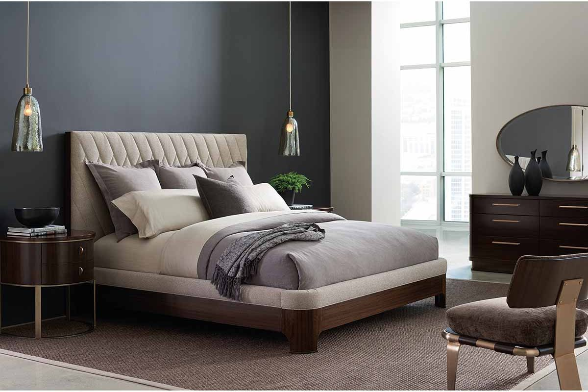 """Caracole Modern Streamline Collection - Contemporary Furniture Available at Place Direct - Items in picture: """"Moderne Bed"""", """"Moderne Nightstand"""", """"Streamline Dresser"""", """"Airflow Chair"""" and """"Streamline Mirror"""""""