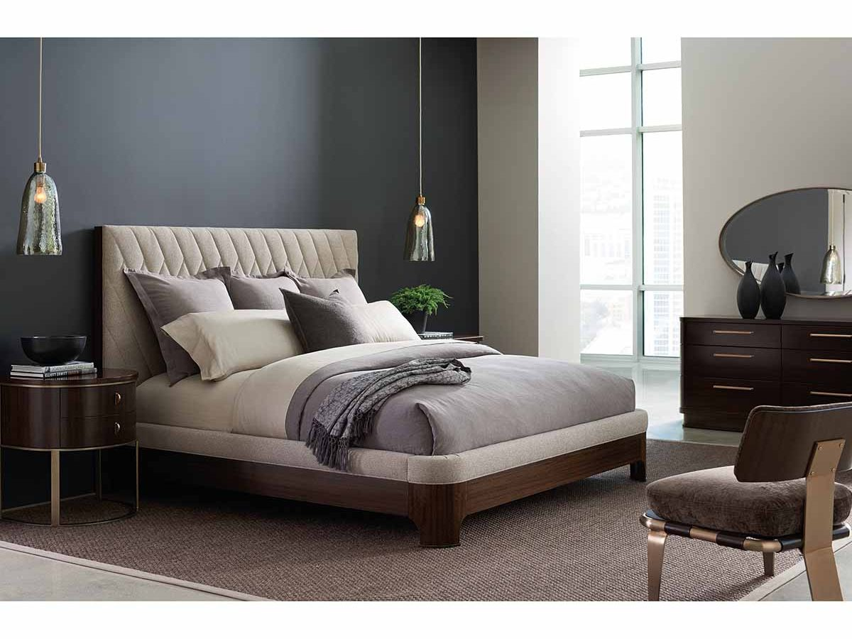 "Caracole Modern Streamline Collection - Contemporary Furniture Available at Place Direct - Items in picture: ""Moderne Bed"", ""Moderne Nightstand"", ""Streamline Dresser"", ""Airflow Chair"" and ""Streamline Mirror"""